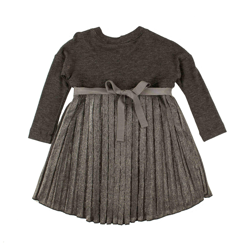 Monnalisa Mädchen Kleid grau Langarm Kleid Tunima festlich ...