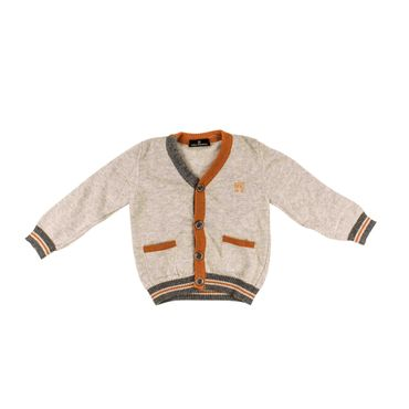 Carlo Pignatelli Strick-Cardigan - grau /  orange