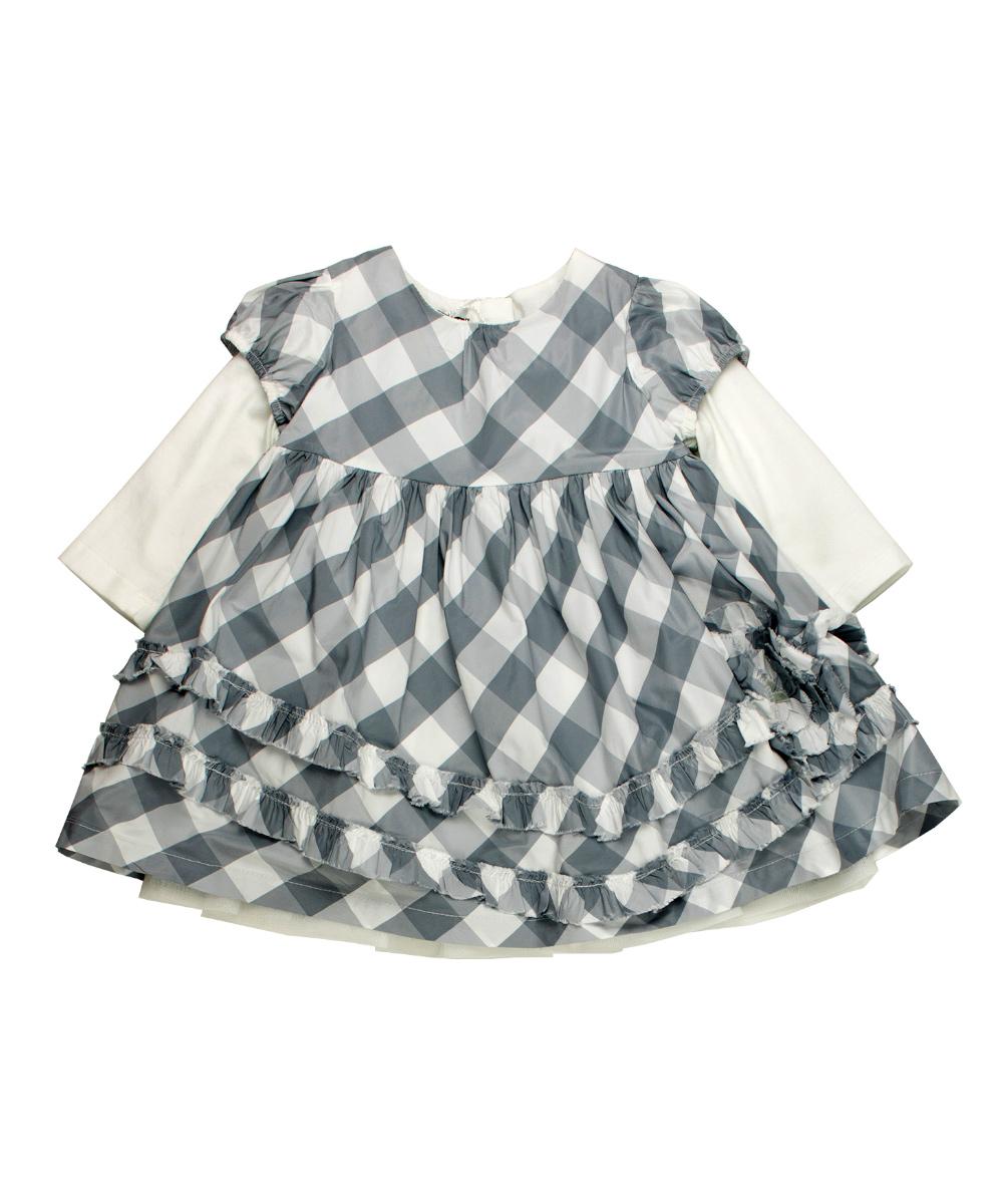 pretty nice f68ff 1136a Blumarine Baby Kleid - grau, weiss Baby Girls (0M - 2J ...