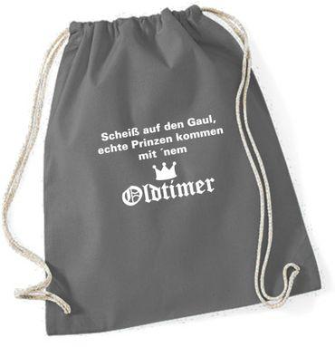 """Turnbeutel / Rucksack """"Scheiss auf den Gaul.. Oldtimer"""" – Bild 1"""