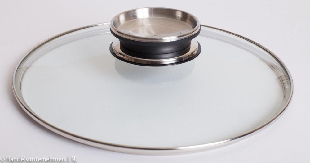 kochtopfdeckel glasdeckel pfannendeckel mit edelstahlrand 28 cm k44 ebay. Black Bedroom Furniture Sets. Home Design Ideas