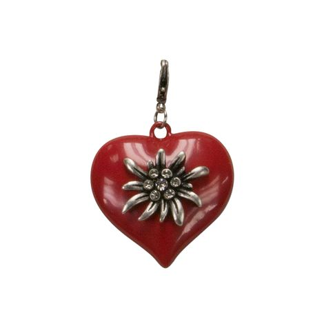 Trachten-Anhänger Strass-Edelweiß-Herz (rot)