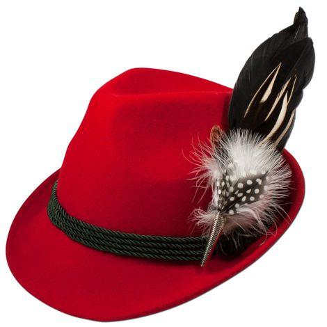 Filzhut Hahnenschlappenfeder (rot) Bild 1