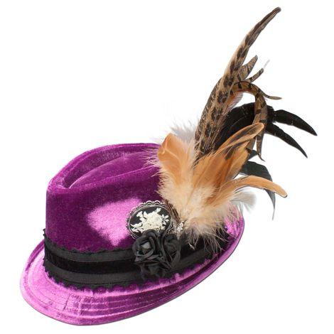 Samthut Trachtenhut Sophie mit Fasanenfeder (lila-violett)