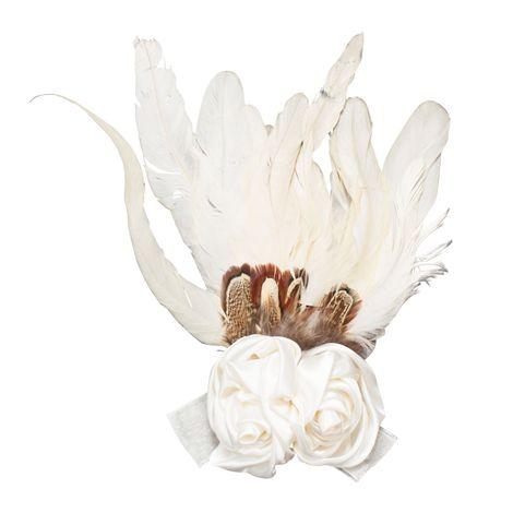 Trachten-Brosche Hutfeder Rose & Federn (elfenbein-creme-weiß)