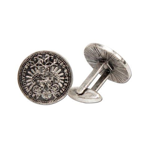 Manschettenknöpfe Münzen (antik-silber-farben) Bild 1