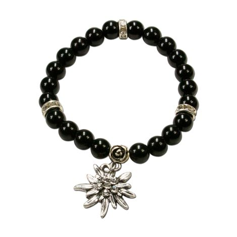 Edelweiß-Perlenarmband Fiona (schwarz) Bild 1