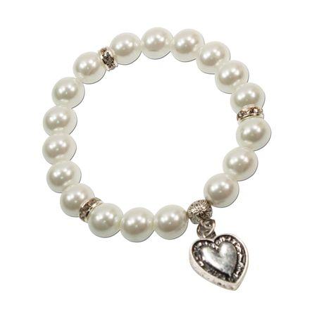 Perlen-Trachten-Armband Trachtenherz (creme-weiß)