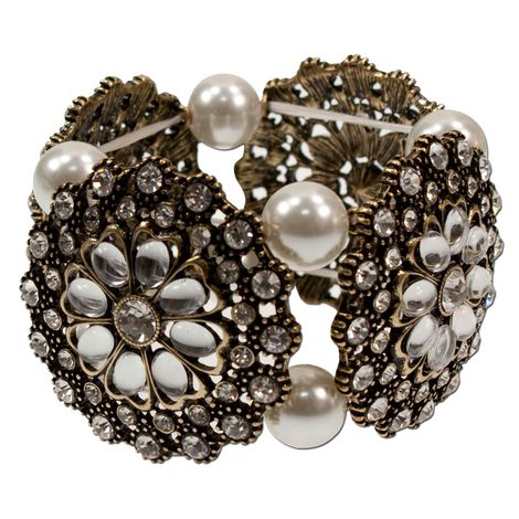 Trachten-Armband Perlenblüte (creme-weiß)