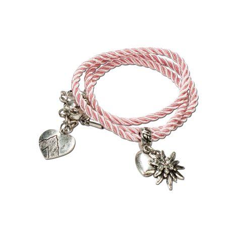 Trachten-Wickelarmband Edelweiß (rosé-rosa)