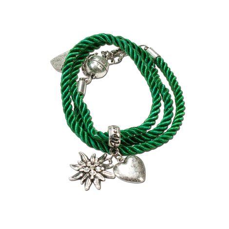 Trachten-Wickelarmband Edelweiß (grün)