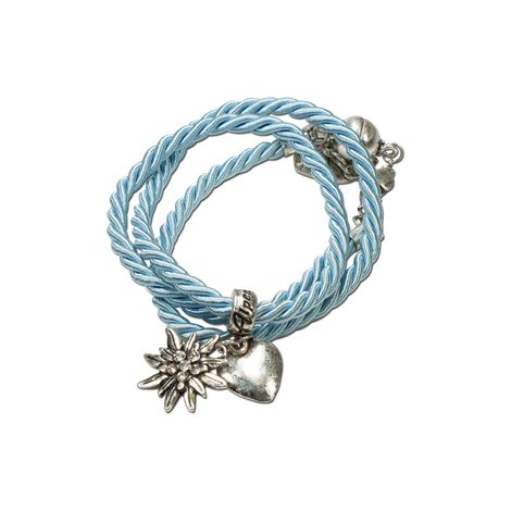 Trachten-Wickelarmband Edelweiß (hell-blau)