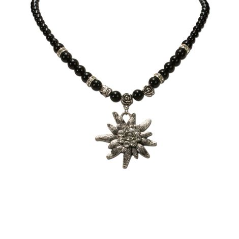 Edelweiß-Perlenkette Fiona (schwarz) Bild 2