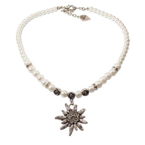 Perlen-Trachtenkette Fiona mit Strass-Edelweiß groß (creme-weiß)