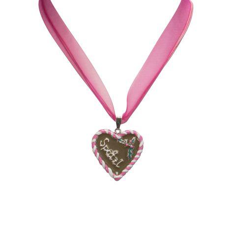 Organza-Halskette Lebkuchenherz Spatzl (pink-fuchsia) Bild 3