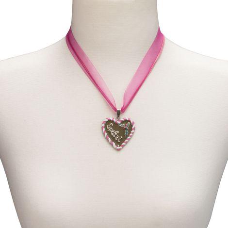 Organza-Halskette Lebkuchenherz Spatzl (pink-fuchsia) Bild 4