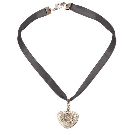 Satin-Trachtenkette Strass-Herz (schwarz)