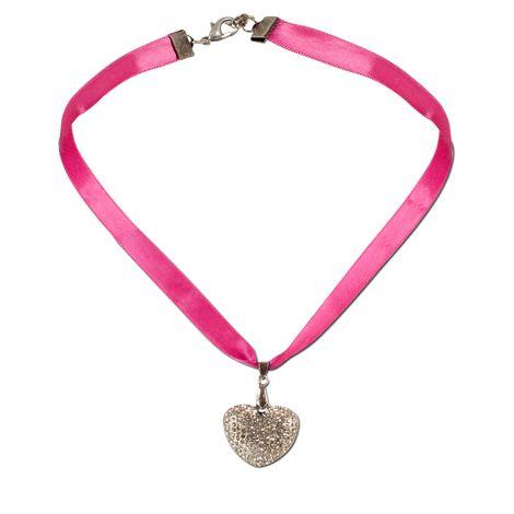 Satin-Trachtenkette Strassherzerl (pink-fuchsia) Bild 1