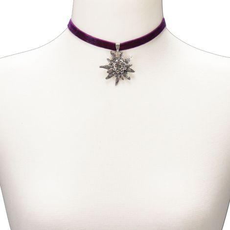 Samt-Kropfband Strass-Edelweiß groß (lila-violett) Bild 3