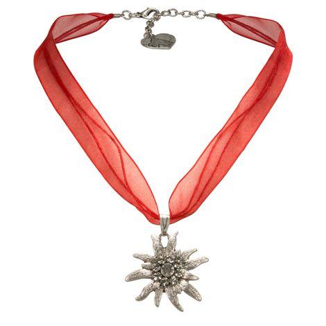 Organza-Halskette Strass-Edelweiß (rot) Bild 1