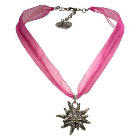 Organza-Trachtenkette Strass-Edelweiß (pink-fuchsia)