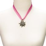 Organza-Halskette Strass-Edelweiß (pink-fuchsia)