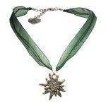 Organza-Halskette Strass-Edelweiß (grün)