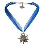Organza-Halskette Strass-Edelweiß (blau)