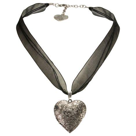 Organza-Trachtenkette Amulett-Herz (schwarz)