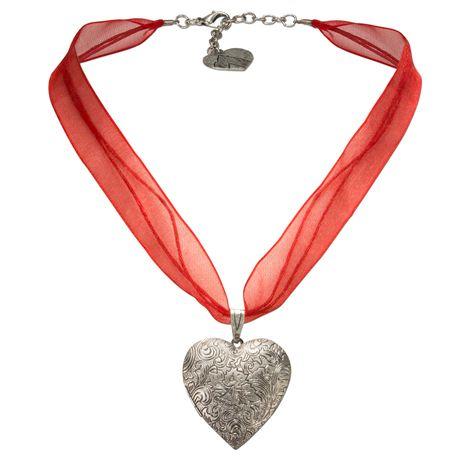Organza-Trachtenkette Amulett-Herz (rot)