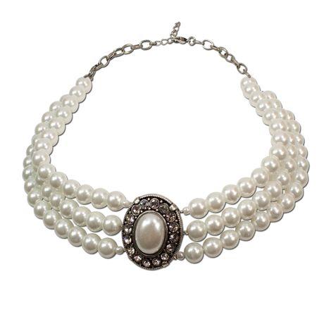 Perlen-Collier Sissi (creme-weiß)