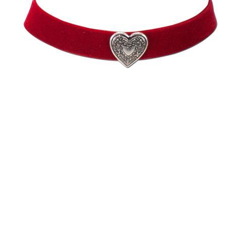 Samt-Kropfband breit Herz (rot) Bild 2