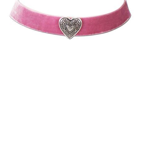 Samt-Kropfband breit Herz (rosé-rosa) Bild 2