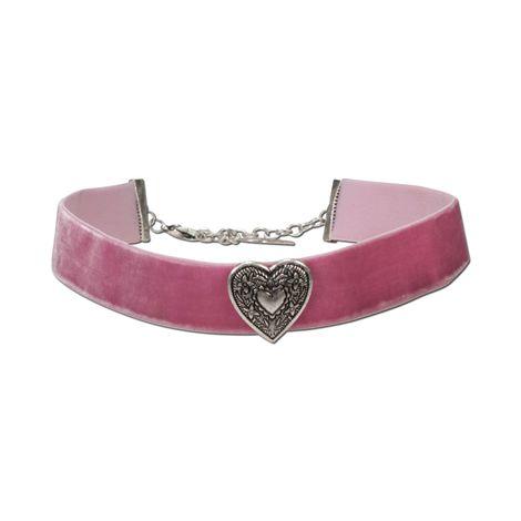 Trachten-Samt-Kropfband breit Trachtenherz (rosé-rosa)