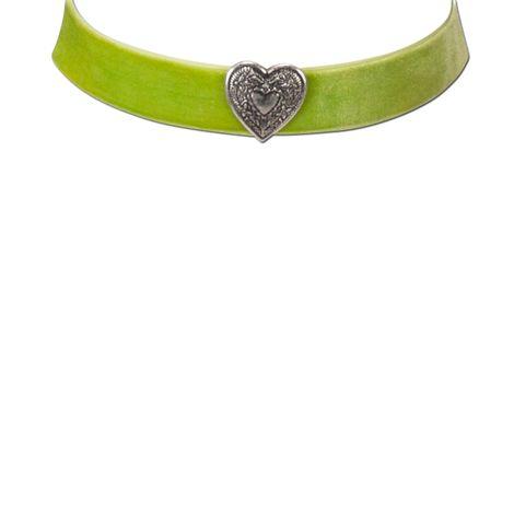 Samt-Kropfband breit Herz (hell-grün) Bild 3