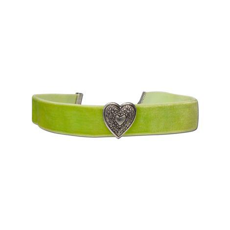 Samt-Kropfband breit Herz (hell-grün) Bild 1