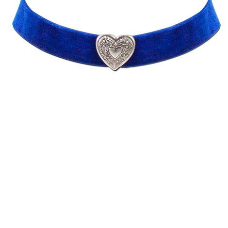 Samt-Kropfband breit Herz (blau) Bild 2