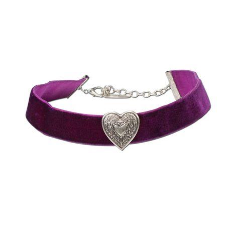 Trachten-Samt-Kropfband breit Trachtenherz (lila-violett)