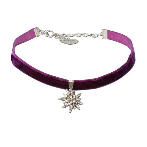 Trachten-Samt-Kropfband Strass-Edelweiß klein (lila-violett)