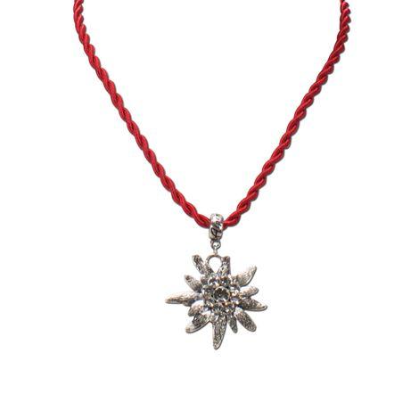 Kordel-Halskette Strass-Edelweiß (rot) Bild 2