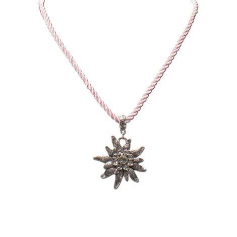 Kordel-Halskette Strass-Edelweiß (rosé-rosa) Bild 3