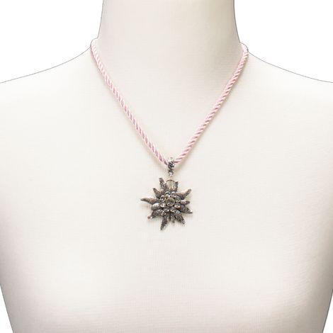Kordel-Halskette Strass-Edelweiß (rosé-rosa) Bild 4