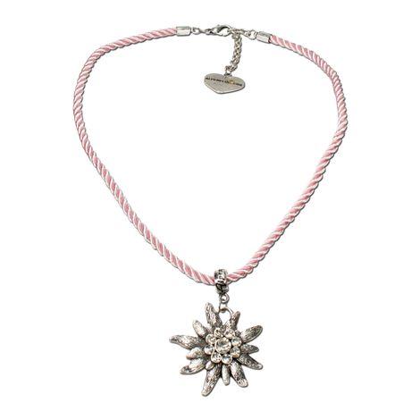 Kordel-Halskette Strass-Edelweiß (rosé-rosa) Bild 1