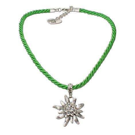Kordel-Halskette Strass-Edelweiß (hell-grün) Bild 1