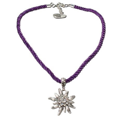 Kordel-Halskette Strass-Edelweiß (lila-violett) Bild 1