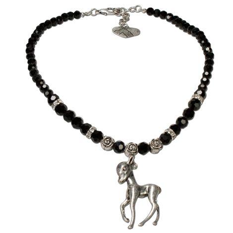 Perlen-Trachtenkette Bambi-Rehkitz (schwarz)