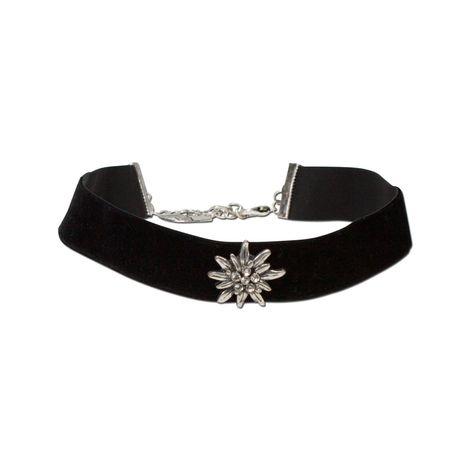 Trachten-Samt-Kropfband breit Strass-Edelweiß (schwarz)