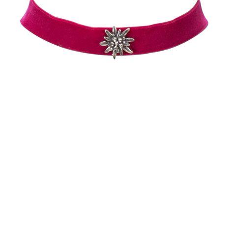 Samt-Kropfband breit Strass-Edelweiß (pink-fuchsia) Bild 2