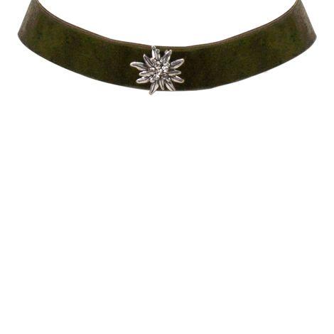 Samt-Kropfband breit Strass-Edelweiß (grün) Bild 2