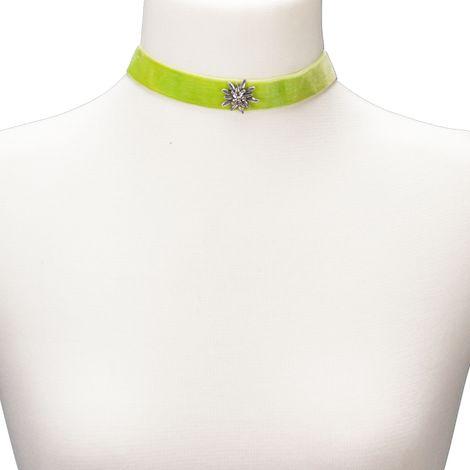 Samt-Kropfband breit Strass-Edelweiß (hell-grün) Bild 3